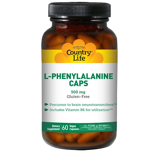Country Life, L-Phenylalanine Caps, 500 mg, 60 Vegan Capsules (Discontinued Item)