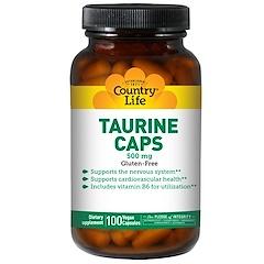 Country Life, Taurine Caps, 500 mg, 100 Vegan Caps