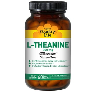 Country Life, L-Theanine, 200 mg, 60 Vegan Caps