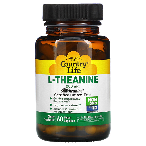 Country Life, L-Teanina, 200 mg, 60 cápsulas vegetales