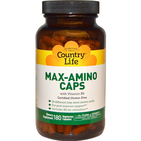 Country Life, Max-Amino Caps, with Vitamin B-6, 180 Vegetarian Capsules