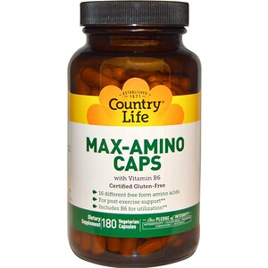Кантри Лайф, Max-Amino Caps with Vitamin B-6, 180 Vegetarian Capsules отзывы покупателей