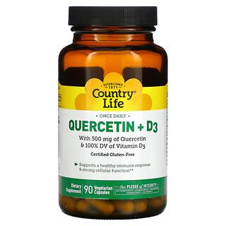 Country Life, Quercetin + D3, 90 Vegetarian Capsules