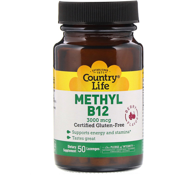 Country Life, Methyl B12, Berry Flavor, 3,000 mcg, 50 Lozenges
