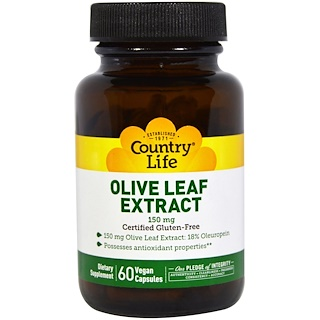 Country Life, Olive Leaf Extract, 150 mg, 60 Veggie Caps
