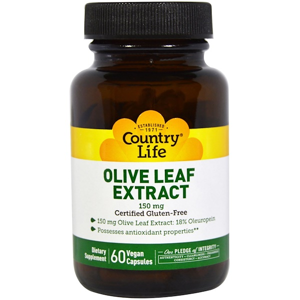 Country Life, Olive Leaf Extract, 150 mg, 60 Veggie Caps (Discontinued Item)
