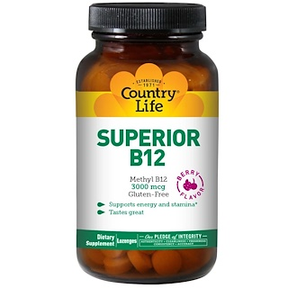 Country Life, Superior B12, Berry Flavor, 3000 mcg, 120 Sublingual Lozenges