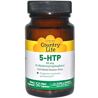 Country Life, 5-HTP, 50 mg, 50 Vegan Caps