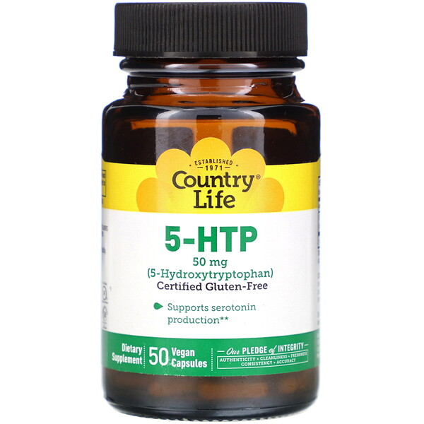 Country Life, 5-HTP, 50 mg, 50 Vegan Capsules