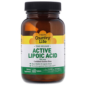 Кантри Лайф, Active Lipoic Acid, Time Release, 300 mg, 60 Tablets отзывы покупателей