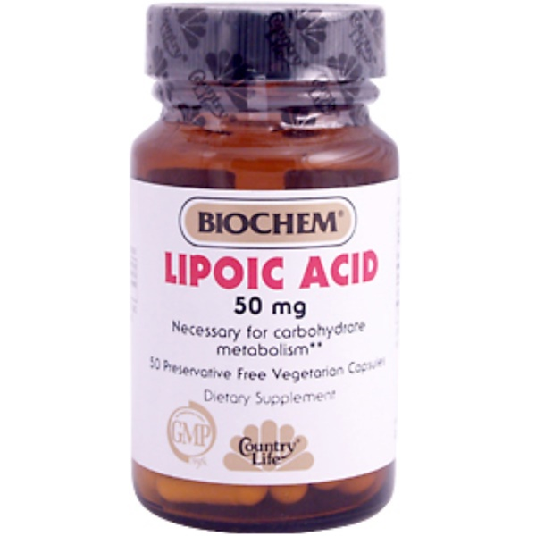 Country Life, BioChem, Lipoic Acid, 50 mg, 50 Veggie Caps (Discontinued Item)