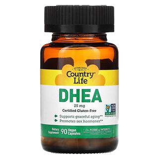 Country Life, DHEA, 25mg, 90cápsulas veganas