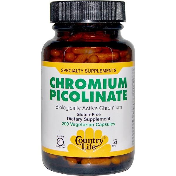 Country Life, Chromium Picolinate, 200 Veggie Caps