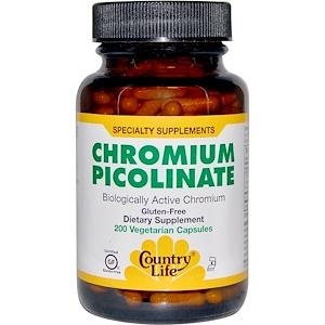 Кантри Лайф, Chromium Picolinate, 200 Vegetarian Capsules отзывы покупателей