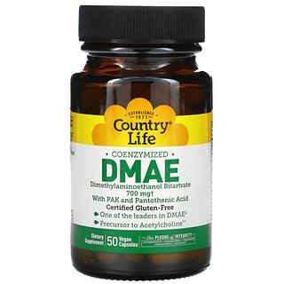 Country Life, коэнзимизированный ДМАЭ, 350 мг, 50 веганских капсул