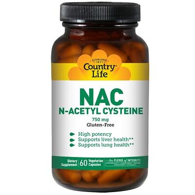 Купить Country Life NAC, N-ацетилцистеин, 750 мг, 60 растительных капсул