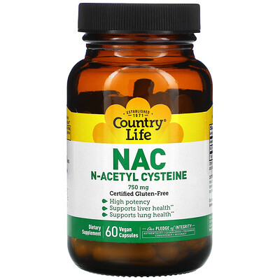 Country Life NAC, N-ацетилцистеин, 750 мг, 60 растительных капсул