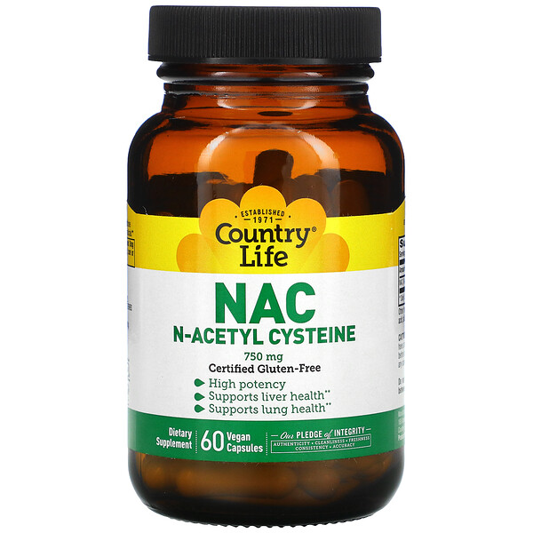Country Life, NAC, N-Acetyl Cysteine, 750 mg, 60 Vegan Capsules