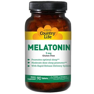 Country Life, Melatonin, 3 mg, 90 Tablets