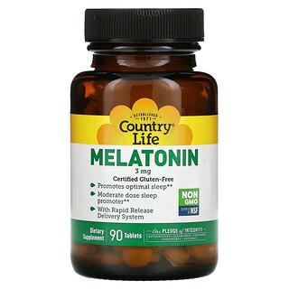 Country Life, Melatonina, 3 mg, 90 Cápsulas