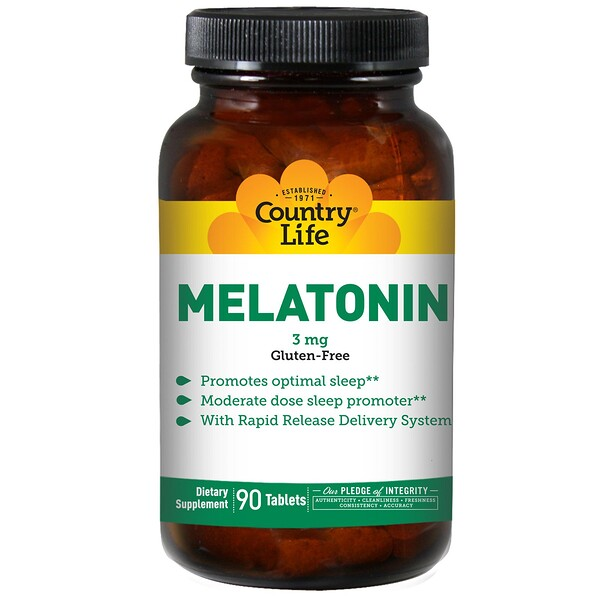 Country Life, Melatonin, 3 mg, 90 Tablets