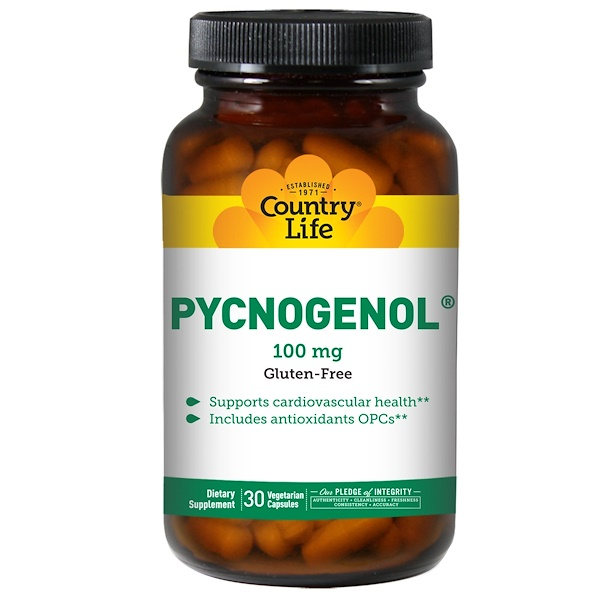 :Country Life, Pycnogenol,100毫克,30粒