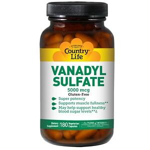 Country Life, Сульфат ванадила, 180 капсул в растительной оболочке