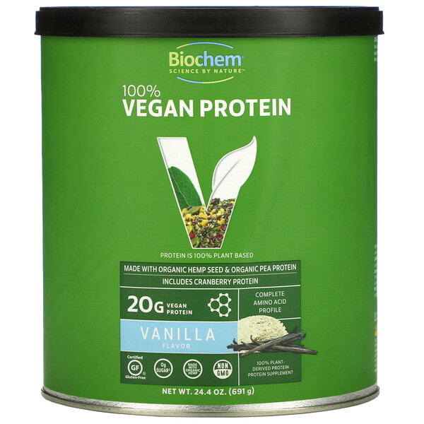 Biochem, Proteína 100% vegana, Vainilla, 691g (24,4oz)