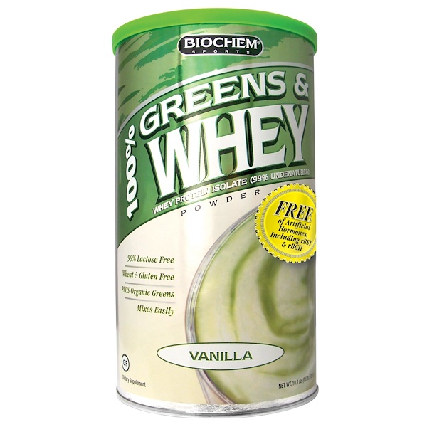 Country Life, BioChem Sports, 100% Greens & Whey, Powder, Vanilla, 10.3 oz (298 g) (Discontinued Item)