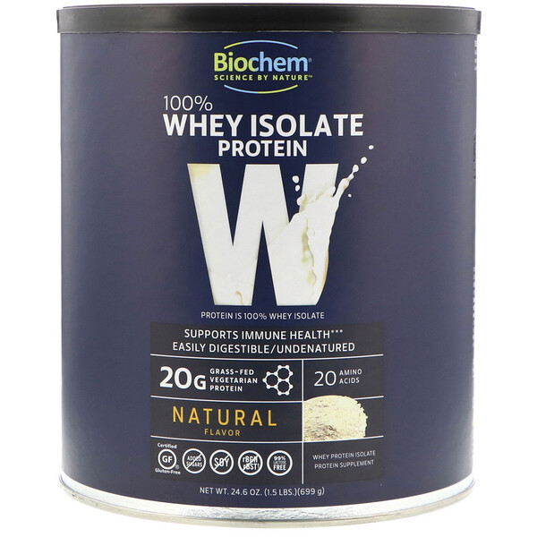 Biochem, 100% Whey Isolate Protein, Natural, 24.6 oz (699 g)