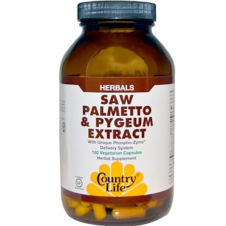 Country Life, Saw Palmetto & Pygeum Extract, 180 Vegetarian Capsules