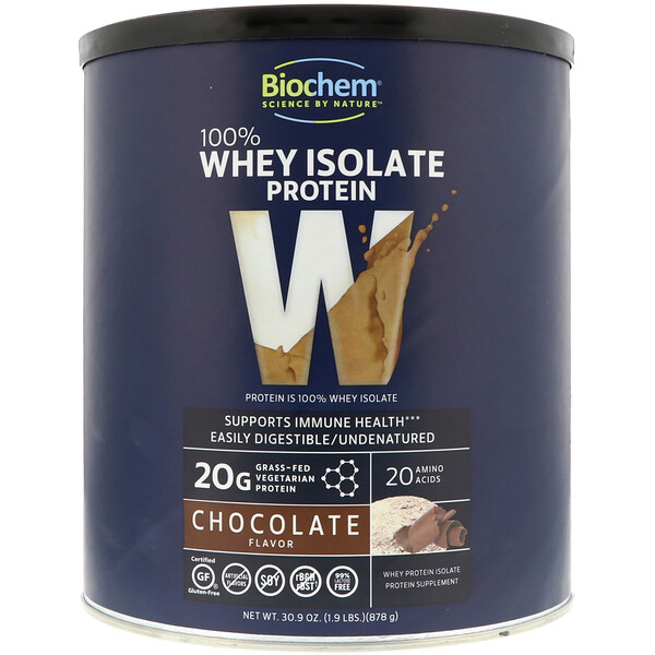 Biochem, 100% Whey Isolate Protein, Chocolate Flavor, 30.9 oz (878 g)