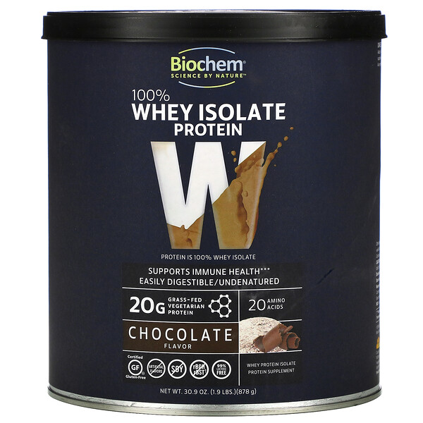 Biochem, 100% цельный изолят из изолята сывороточного протеина, со вкусом шоколада, 878г (1,9фунта)