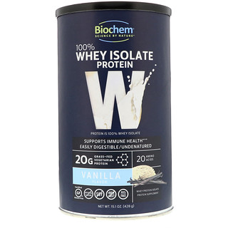 Biochem, 100% Whey Isolate Protein, Vanilla, 15.1 oz (428 g)