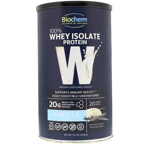 Country Life, Biochem, 100% Whey Isolate Protein, Vanilla Flavor, 15、1 oz (428 g)