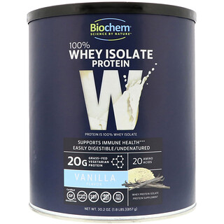 Biochem, 100% Whey Isolate Protein, Vanilla, 1.8 lbs (857 g)