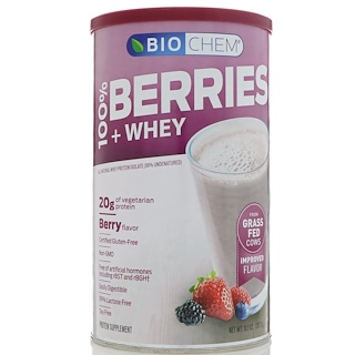 Country Life, BioChem, 100% Berries & Whey Powder, Berry Flavor, 10.1 oz (287.7 g)