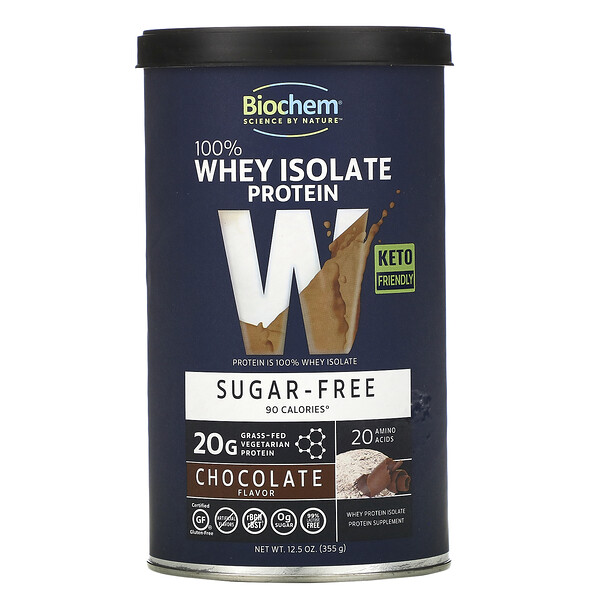 100% Whey Isolate Protein, Sugar Free, Chocolate Flavor, 12.5 oz (355 g)