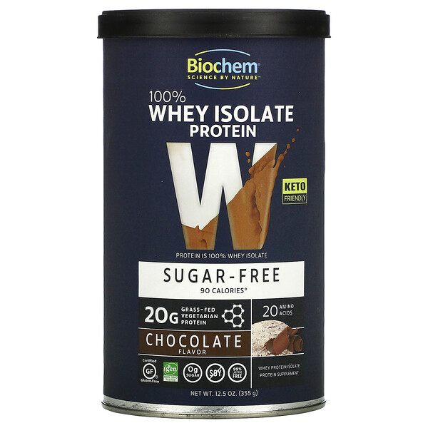 100% Whey Isolate Protein, Sugar Free, Chocolate, 12.5 oz (355 g)