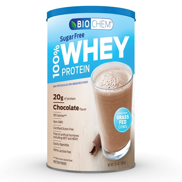Biochem, 100% Whey Protein, Sugar Free, Chocolate, 12.5 oz (355 g)