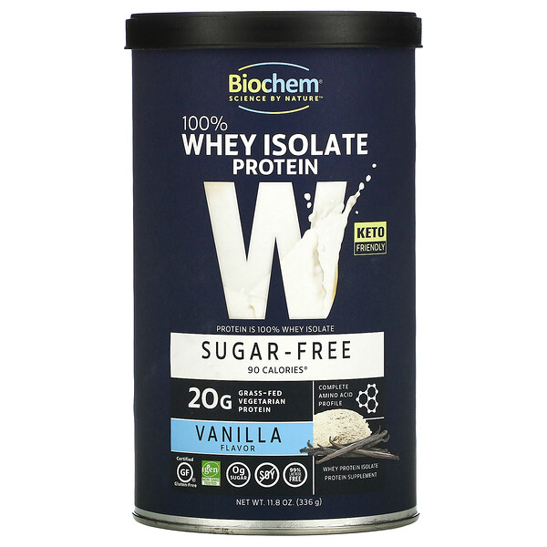 Biochem, 100% Whey Isolate Protein , Sugar Free, Vanilla, 11.8 oz (336 g)