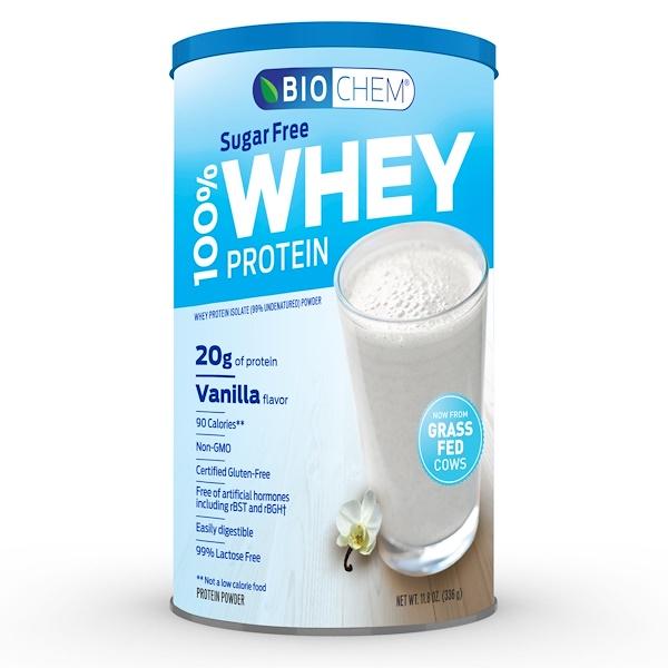 Country Life, 바이오켐, 100% 유청 단백질, 무설탕, 바닐라, 11.8 oz (336 g)