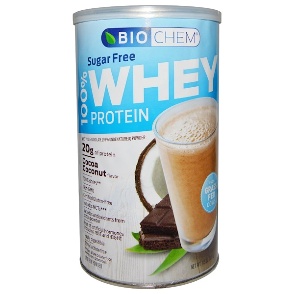 Country Life, BioChem, 100% Whey Protein, Sugar Free, Cocoa Coconut Flavor, 11.5 oz (328 g) (Discontinued Item)