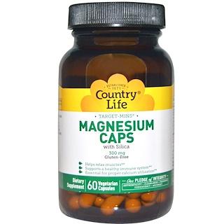 Country Life, Target-Mins, Magnesium Caps, 300 mg, 60 Vegetarian Capsules