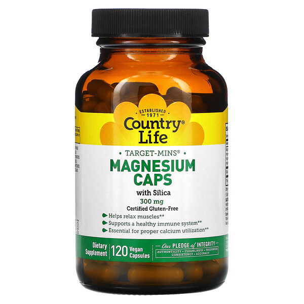 Country Life, Target-Mins Magnesium Caps with Silica, 300 mg, 120 Vegan Capsules