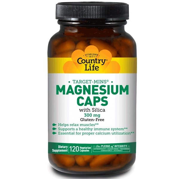 Country Life, Target-Mins Magnesium Caps with Silica, 300 mg, 120 Vegetarian Capsules
