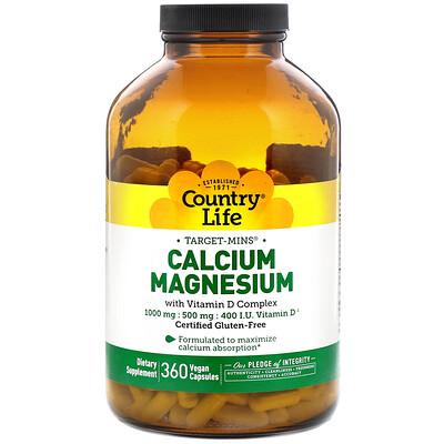 Country Life Calcium Magnesium with Vitamin D Complex, Gluten Free, 360 Vegan Capsules