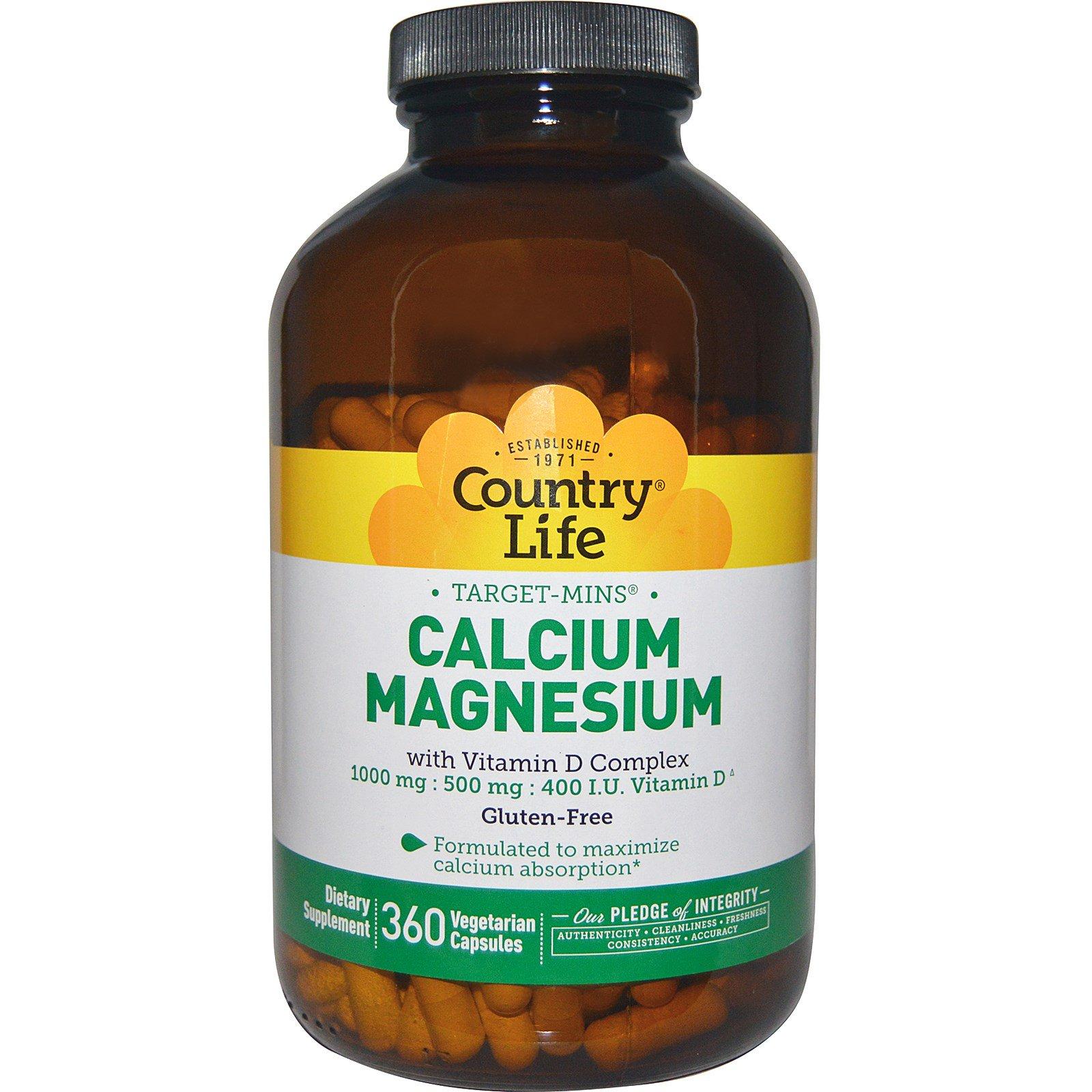 Country Life, Магний Кальций с витамином D Complex, глютен, 360 Veggie Caps
