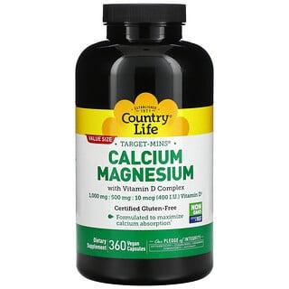 Country Life, Target-Mins Calcium Magnesium with Vitamin D Complex, 360 Vegan Capsules
