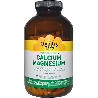 Country Life, Calcium Magnesium、with Vitamin D Complex、Gluten Free、360 Veggie Caps